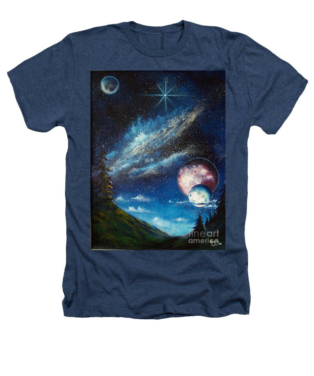 Space Horizon Heathers T-Shirt featuring the painting Galatic Horizon by Murphy Elliott