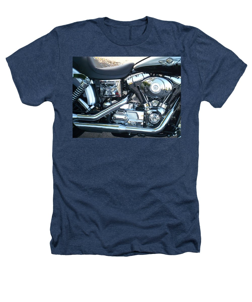 Motorcycles Heathers T-Shirt featuring the photograph Harley Black And Silver Sideview by Anita Burgermeister