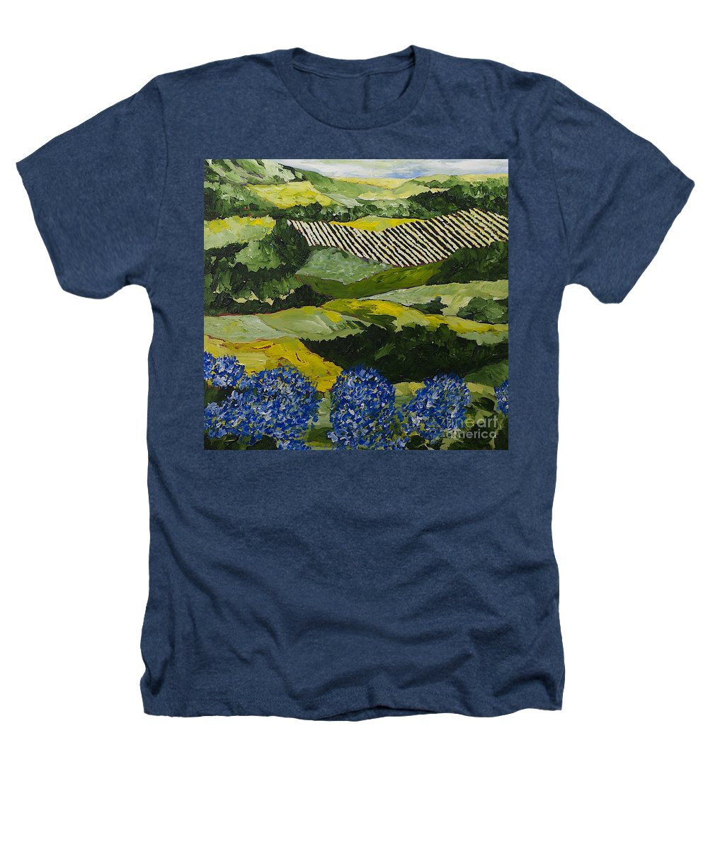 Landscape Heathers T-Shirt featuring the painting Hydrangea Valley by Allan P Friedlander