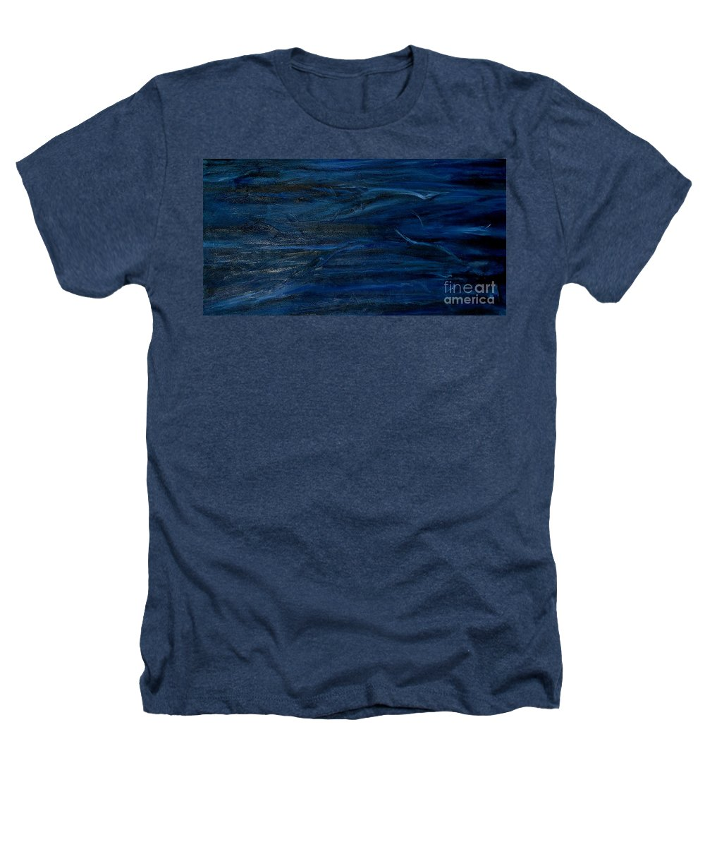 Modern Art Heathers T-Shirt featuring the painting Immense Blue by Silvana Abel