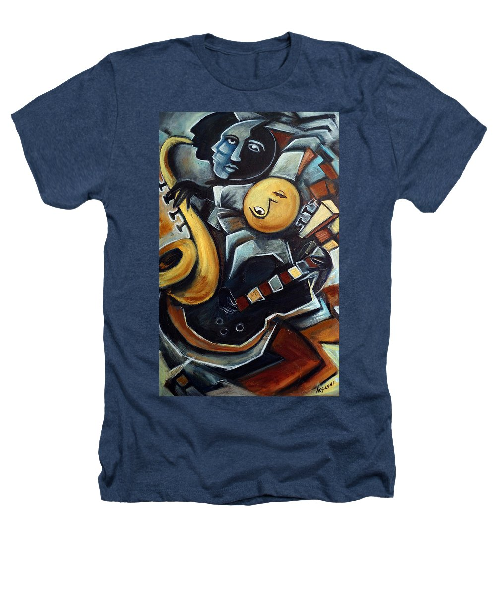 Cubism Heathers T-Shirt featuring the painting Indigo Blues by Valerie Vescovi