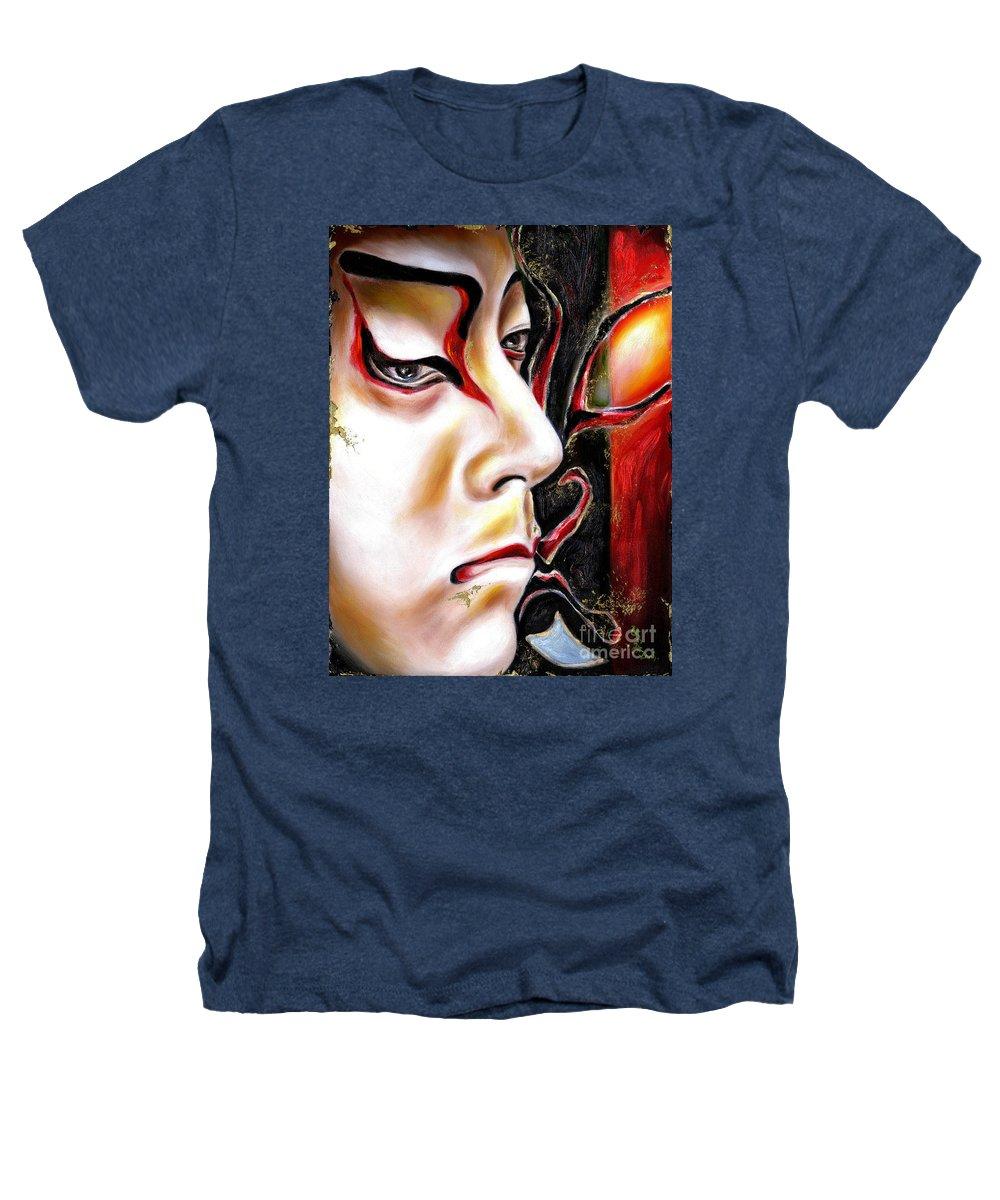 Kabuki Heathers T-Shirt featuring the painting Kabuki Three by Hiroko Sakai