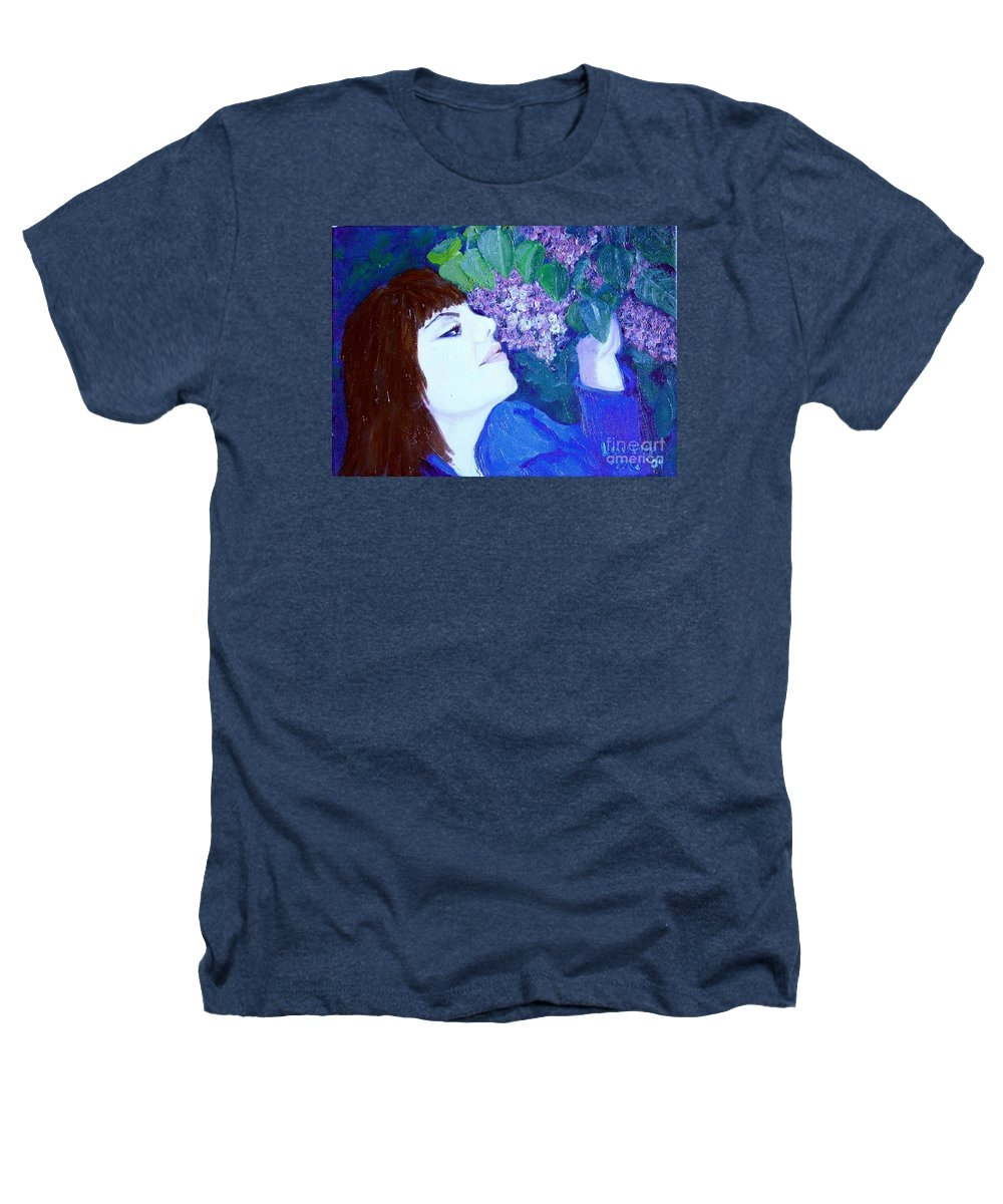 Lilacs Heathers T-Shirt featuring the painting Lush Lilacs by Laurie Morgan