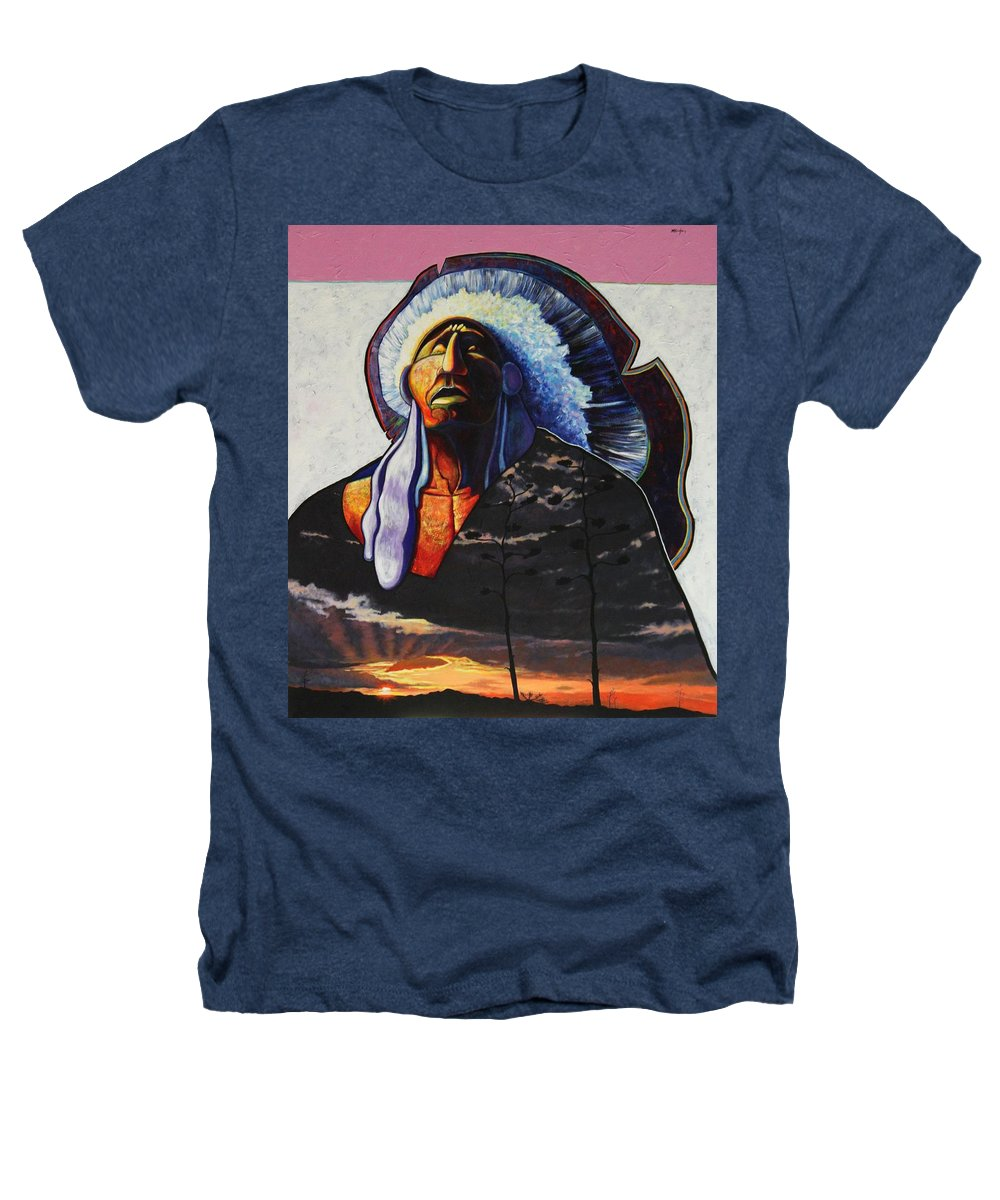 Native American Heathers T-Shirt featuring the painting Make Me Worthy by Joe Triano