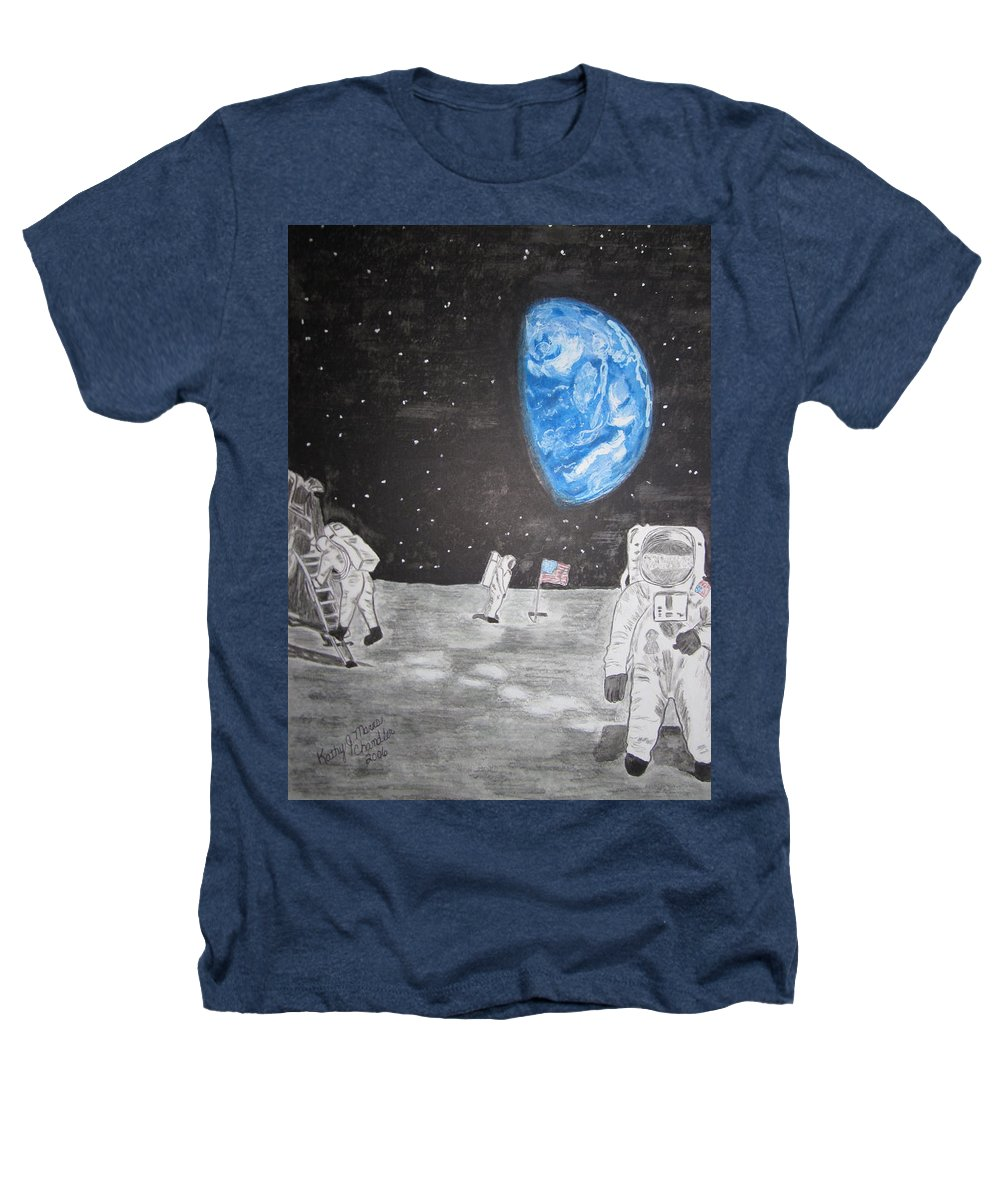 Stars Heathers T-Shirt featuring the painting Man On The Moon by Kathy Marrs Chandler