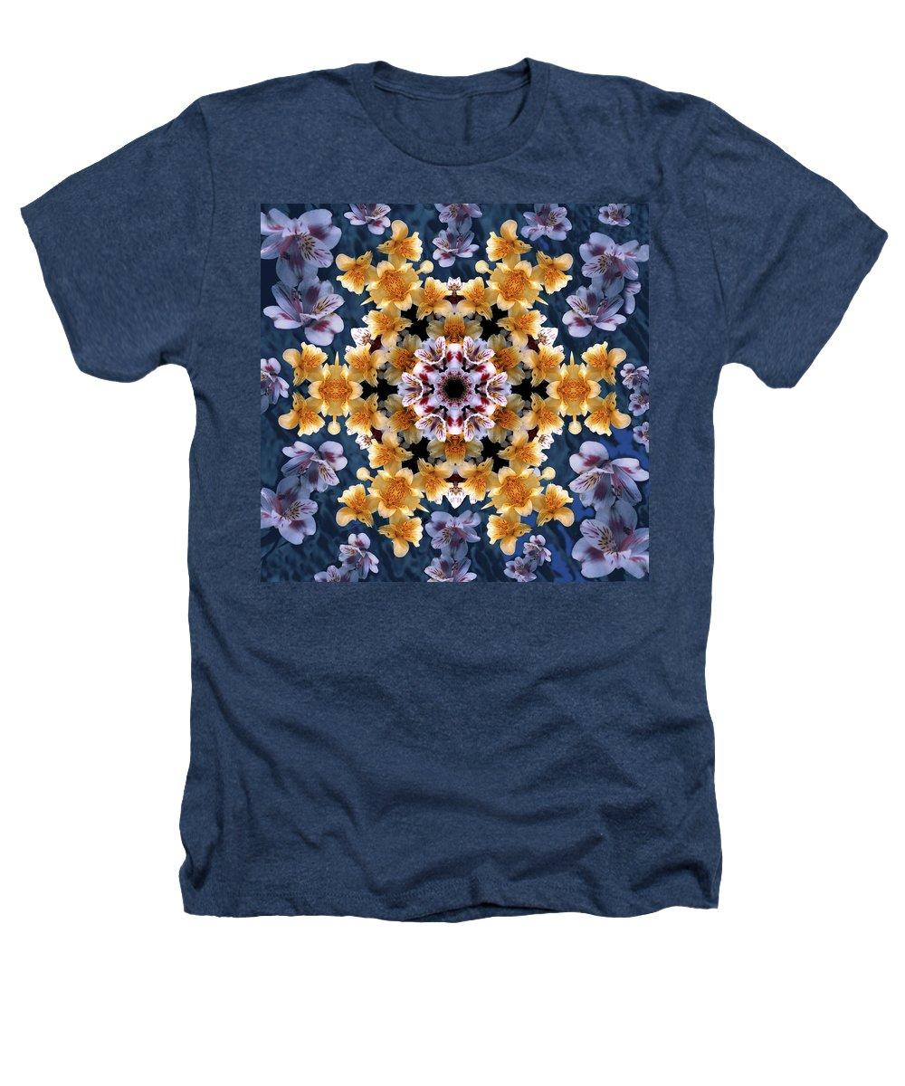 Mandala Heathers T-Shirt featuring the digital art Mandala Alstro by Nancy Griswold