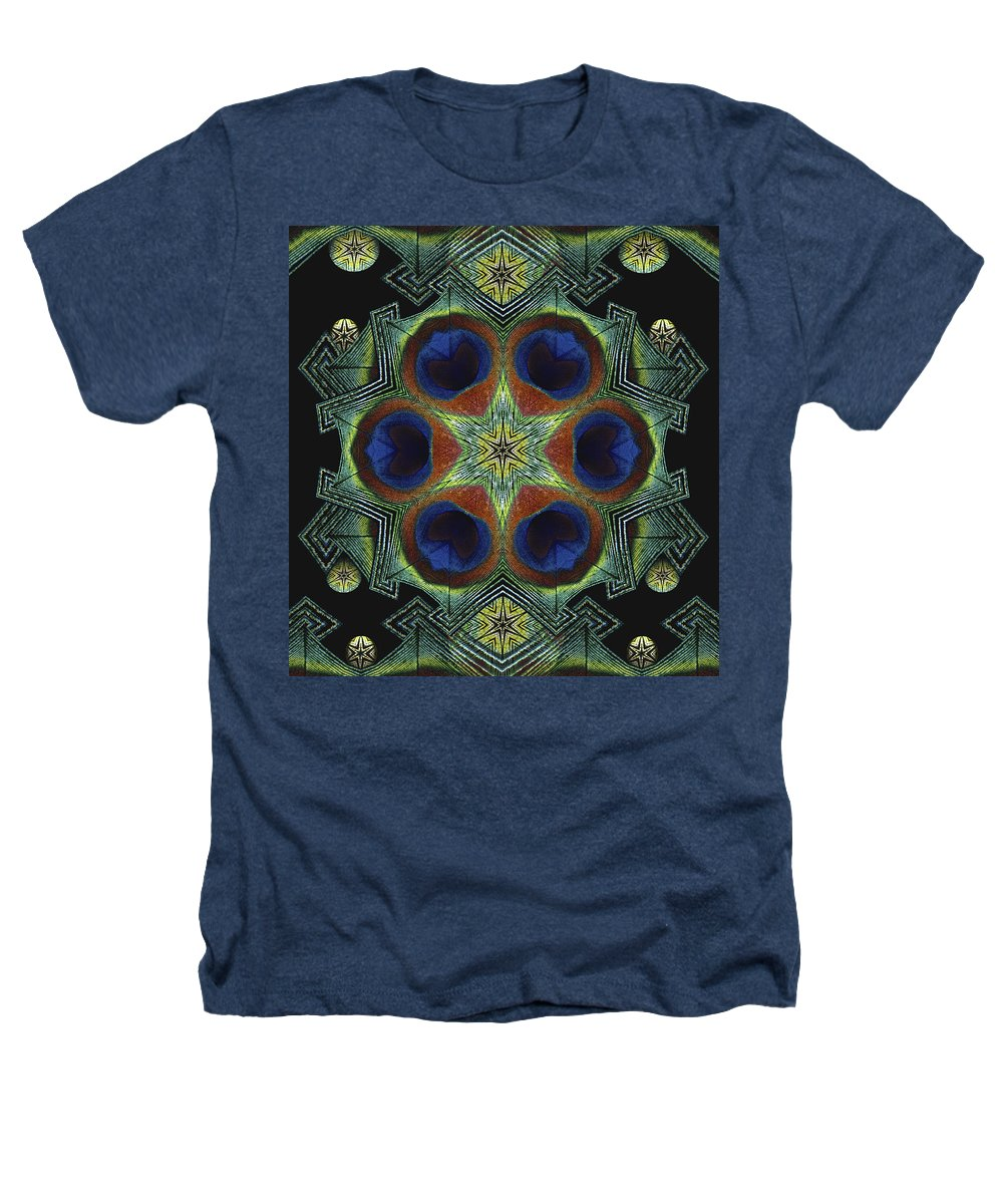 Mandala Heathers T-Shirt featuring the digital art Mandala Peacock by Nancy Griswold