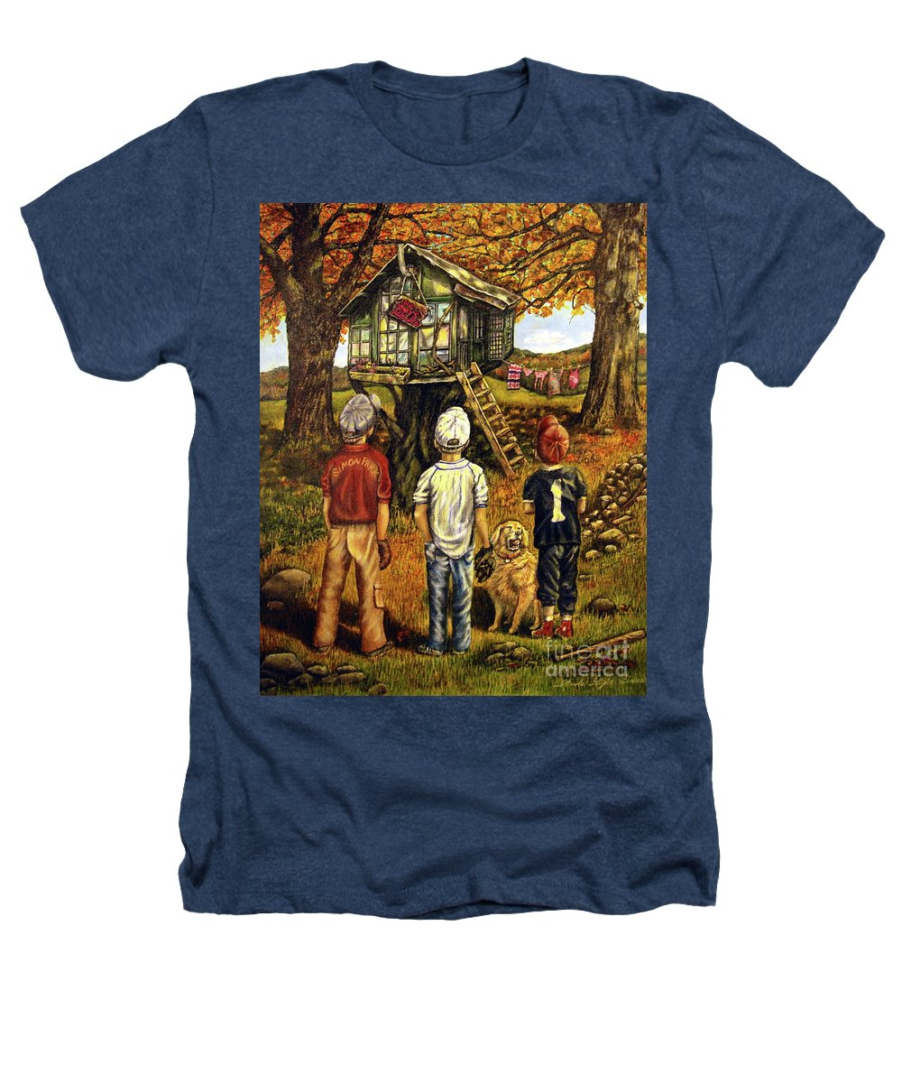 Trees Heathers T-Shirt featuring the painting Meadow Haven by Linda Simon