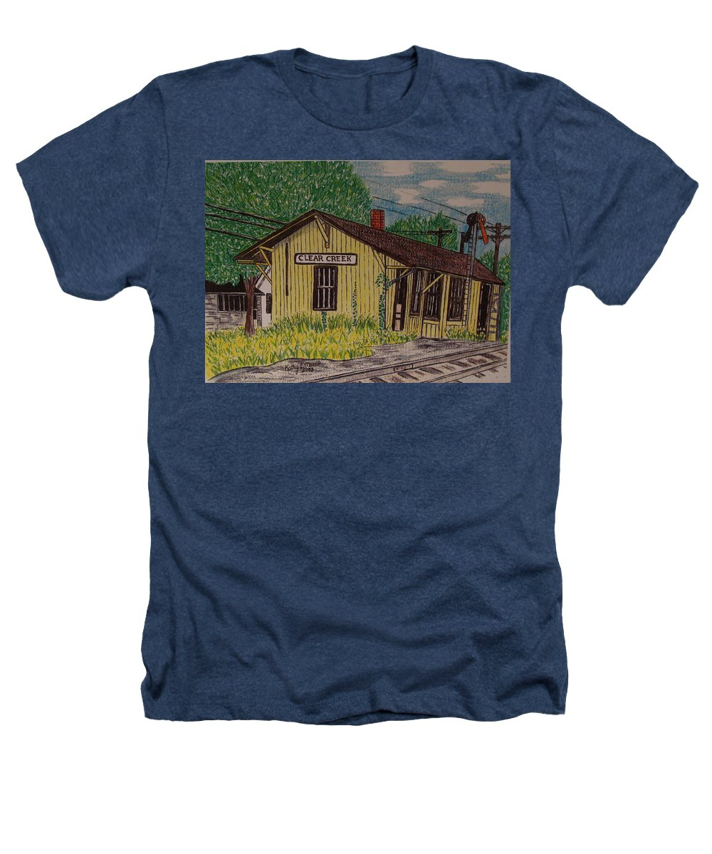 Monon. Monon Train Heathers T-Shirt featuring the painting Monon Clear Creek Indiana Train Depot by Kathy Marrs Chandler