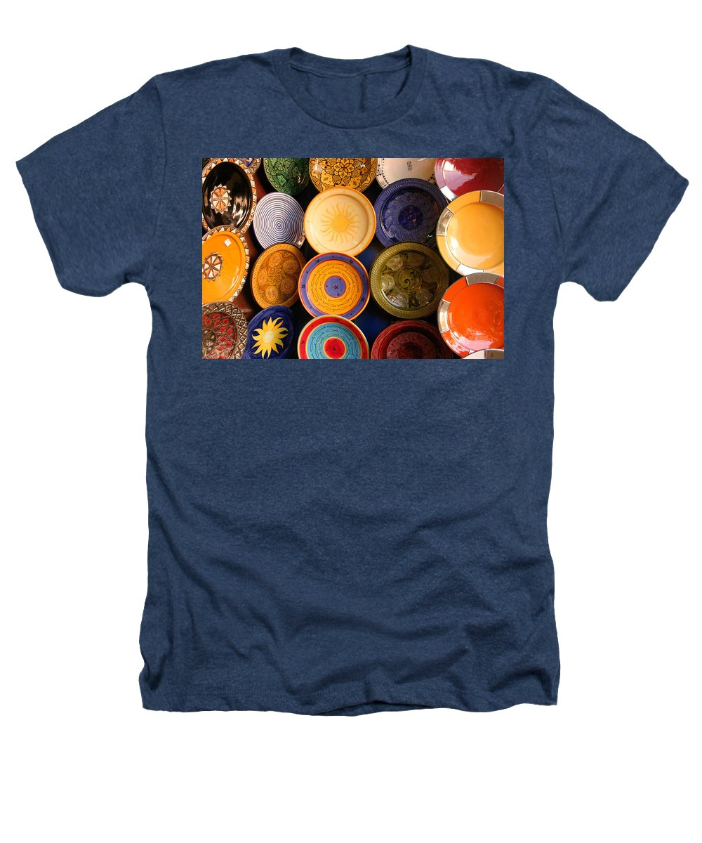 Morocco Heathers T-Shirt featuring the photograph Moroccan Pottery On Display For Sale by Ralph A Ledergerber-Photography