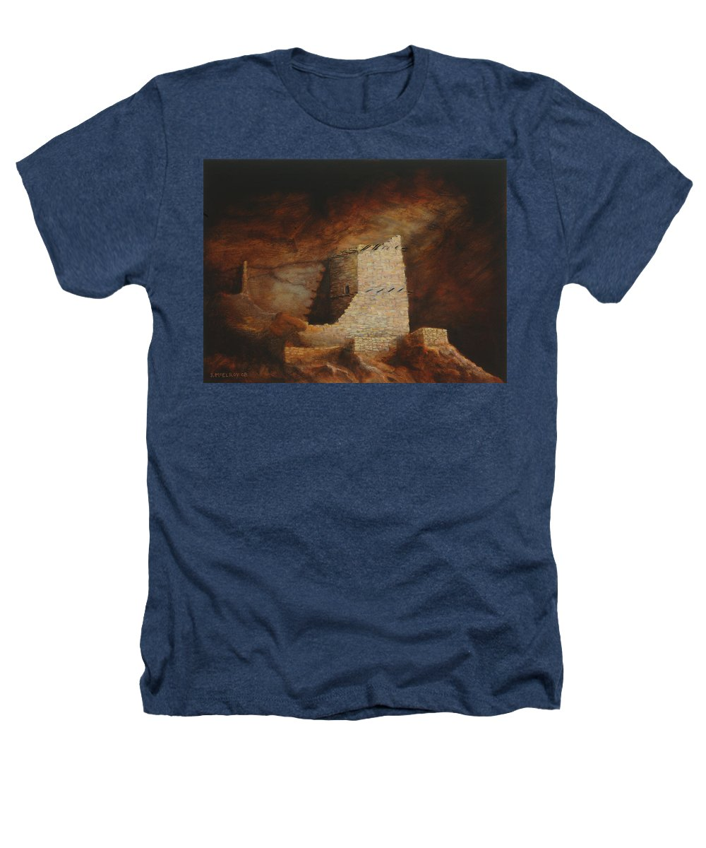 Anasazi Heathers T-Shirt featuring the painting Mummy Cave by Jerry McElroy