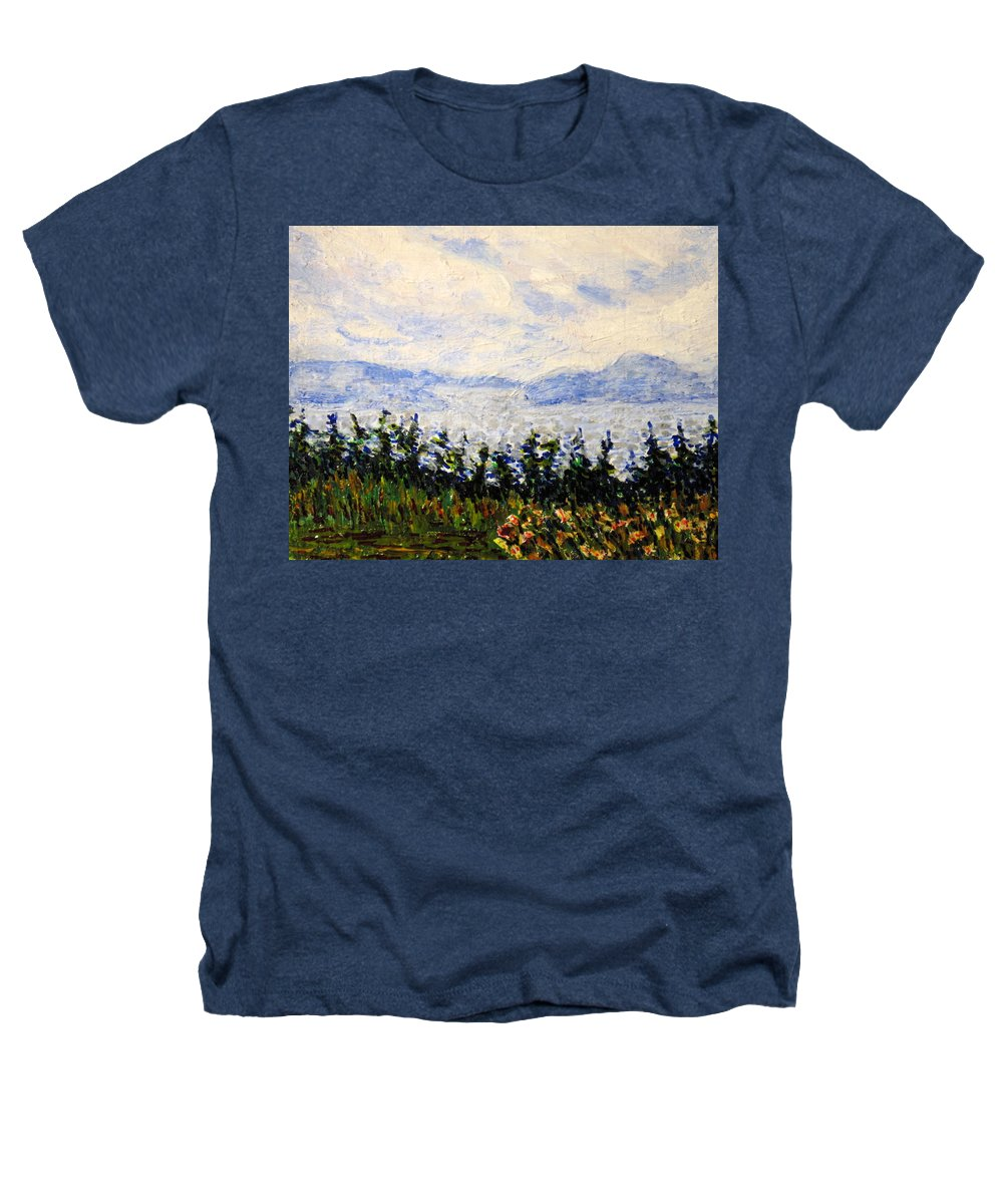 Newfoundland Heathers T-Shirt featuring the painting Newfoundland Up The West Coast by Ian MacDonald