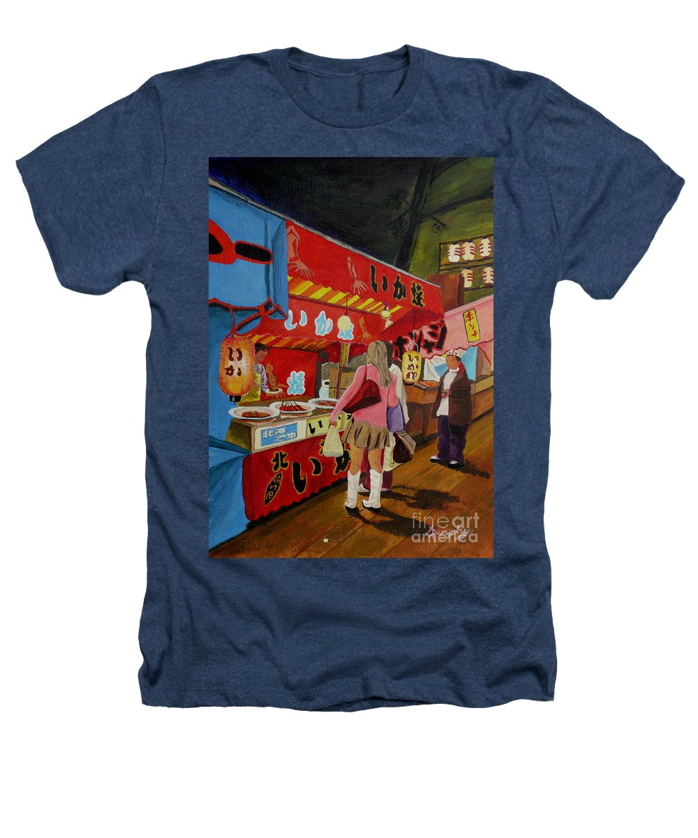 Japan Heathers T-Shirt featuring the painting Night Festival by Anthony Dunphy
