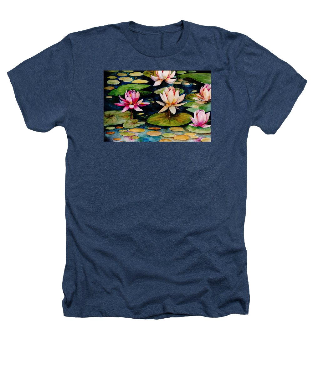 Lily Heathers T-Shirt featuring the painting On Lily Pond by Jun Jamosmos