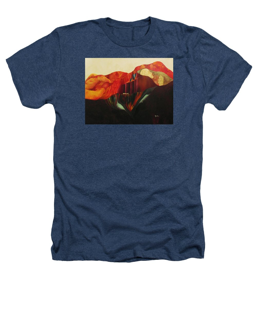 Oil Heathers T-Shirt featuring the painting On The Road To Enlightenment by Peggy Guichu