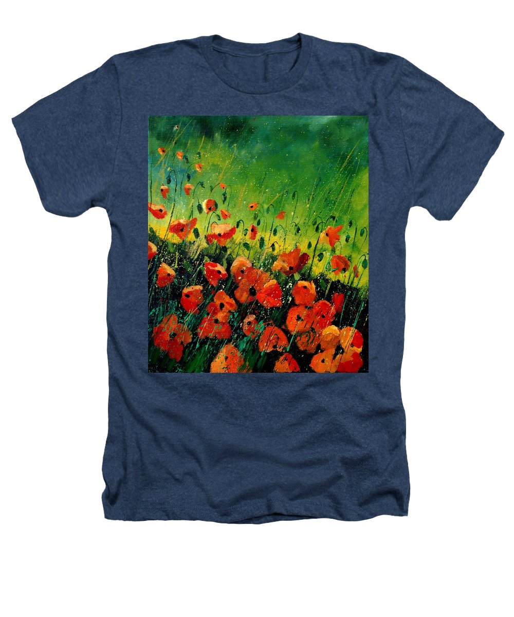 Poppies Heathers T-Shirt featuring the painting Orange Poppies by Pol Ledent
