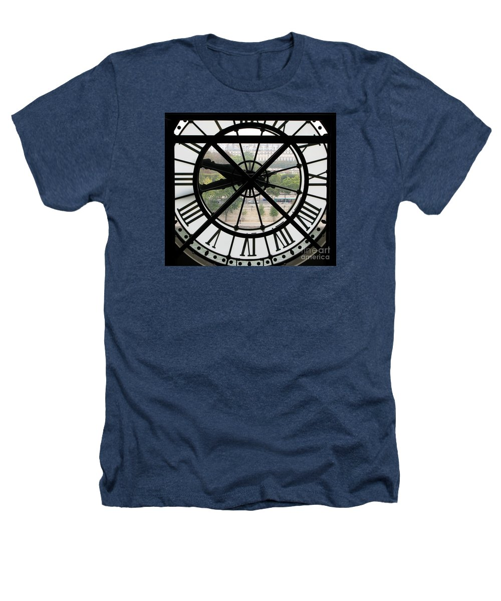 Clock Heathers T-Shirt featuring the photograph Paris Time by Ann Horn