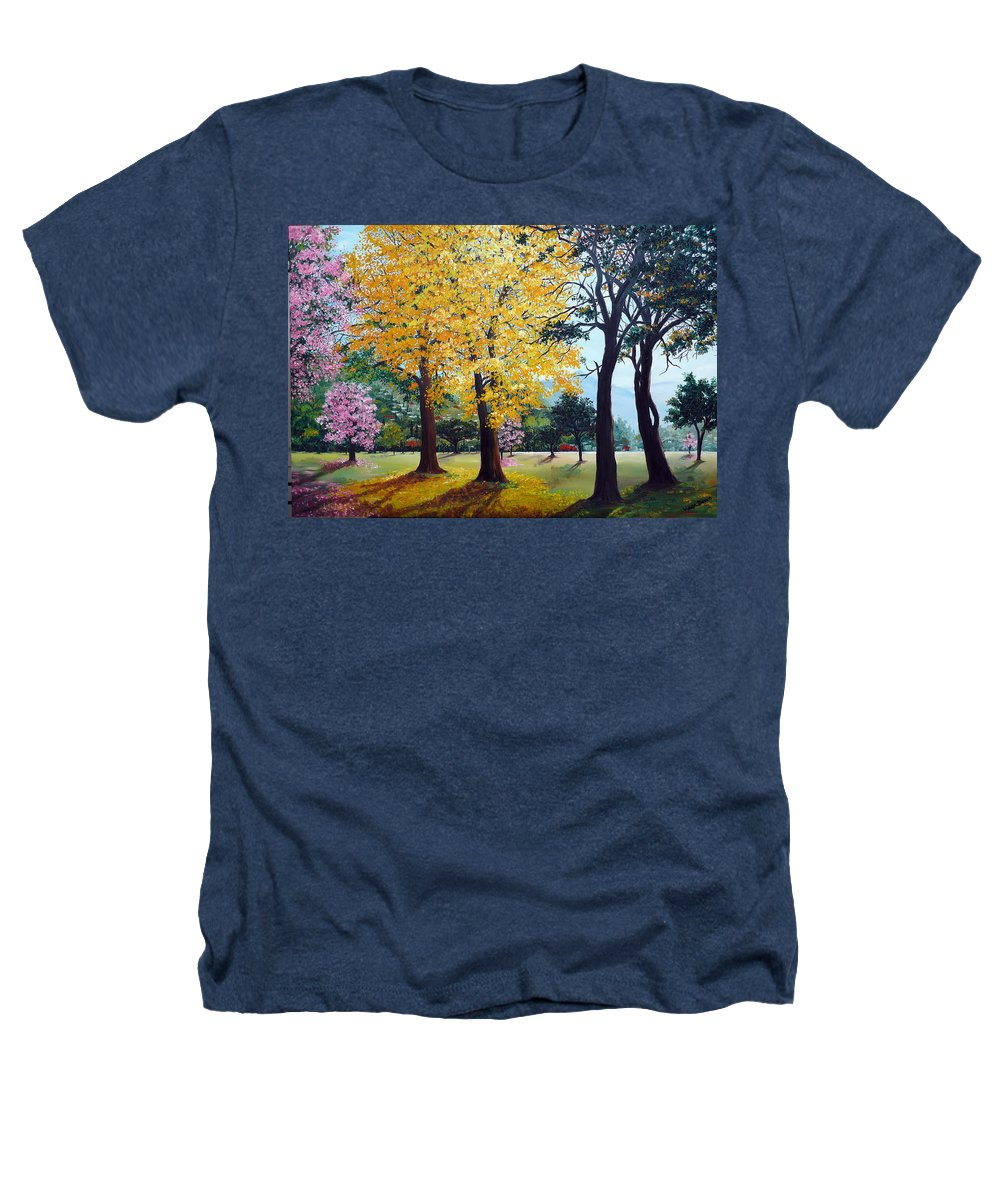 Tree Painting Landscape Painting Caribbean Painting Poui Tree Yellow Blossoms Trinidad Queens Park Savannah Port Of Spain Trinidad And Tobago Painting Savannah Tropical Painting Heathers T-Shirt featuring the painting Poui Trees In The Savannah by Karin Dawn Kelshall- Best
