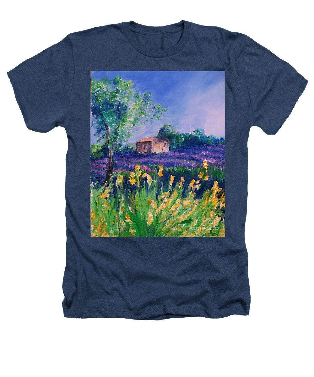 Floral Heathers T-Shirt featuring the digital art Provence Yellow Flowers by Eric Schiabor