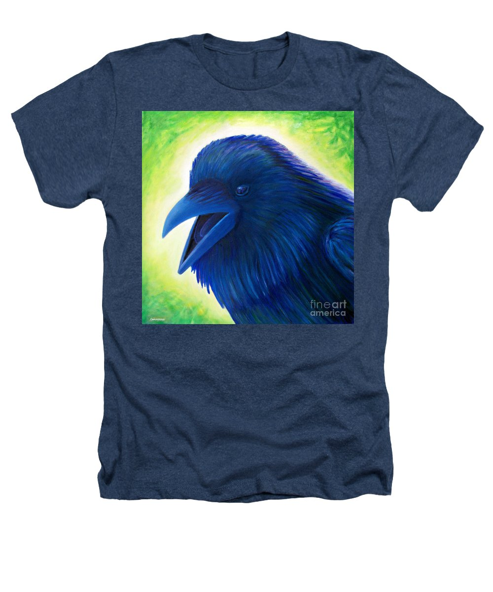 Raven Heathers T-Shirt featuring the painting Raaawk by Brian Commerford