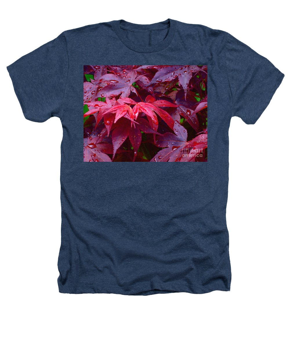 Rain Heathers T-Shirt featuring the photograph Red Maple After Rain by Ann Horn