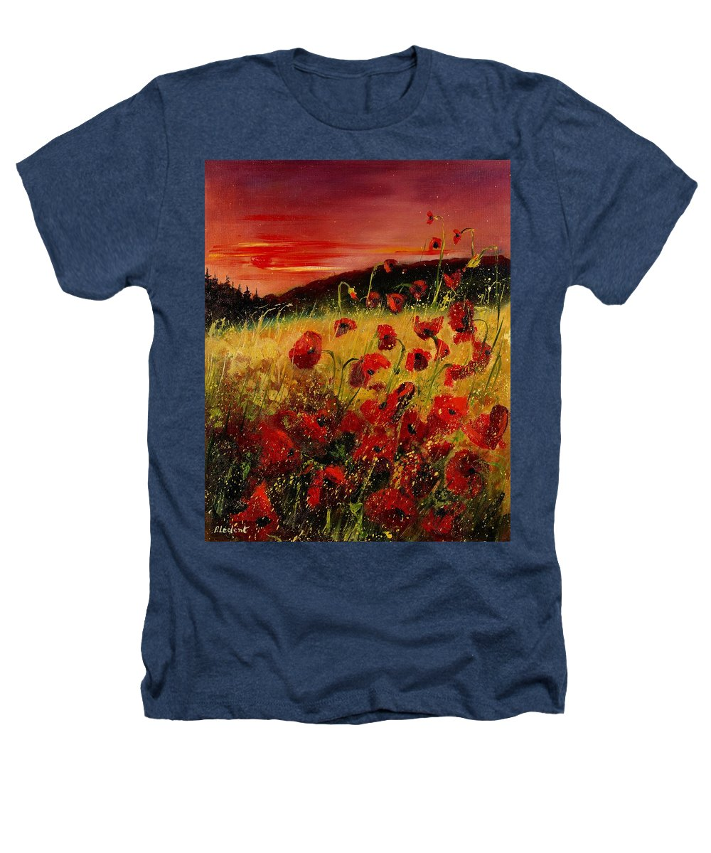Poppies Heathers T-Shirt featuring the painting Red Poppies And Sunset by Pol Ledent