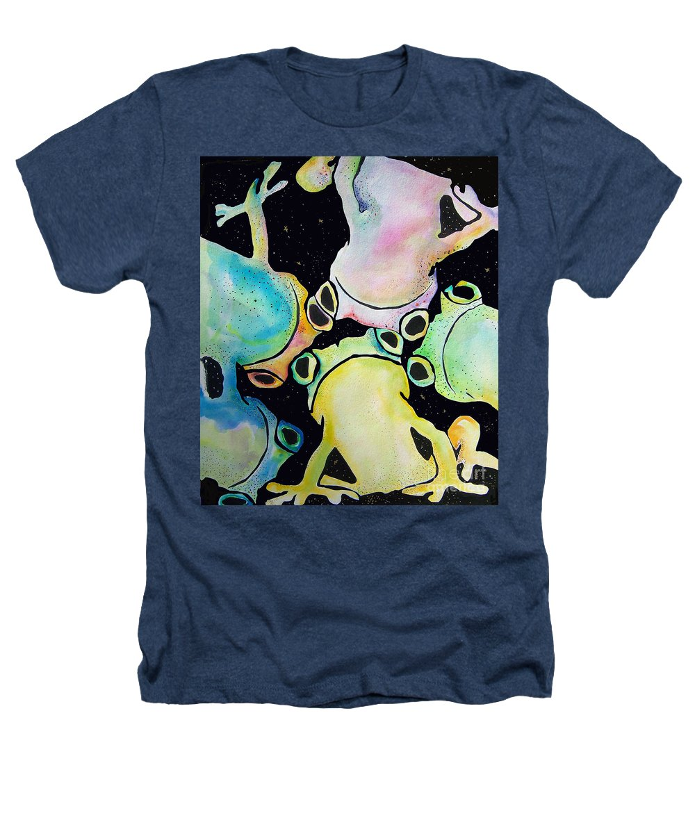 Pat Saunders-white Heathers T-Shirt featuring the mixed media Reflecting Pond by Pat Saunders-White