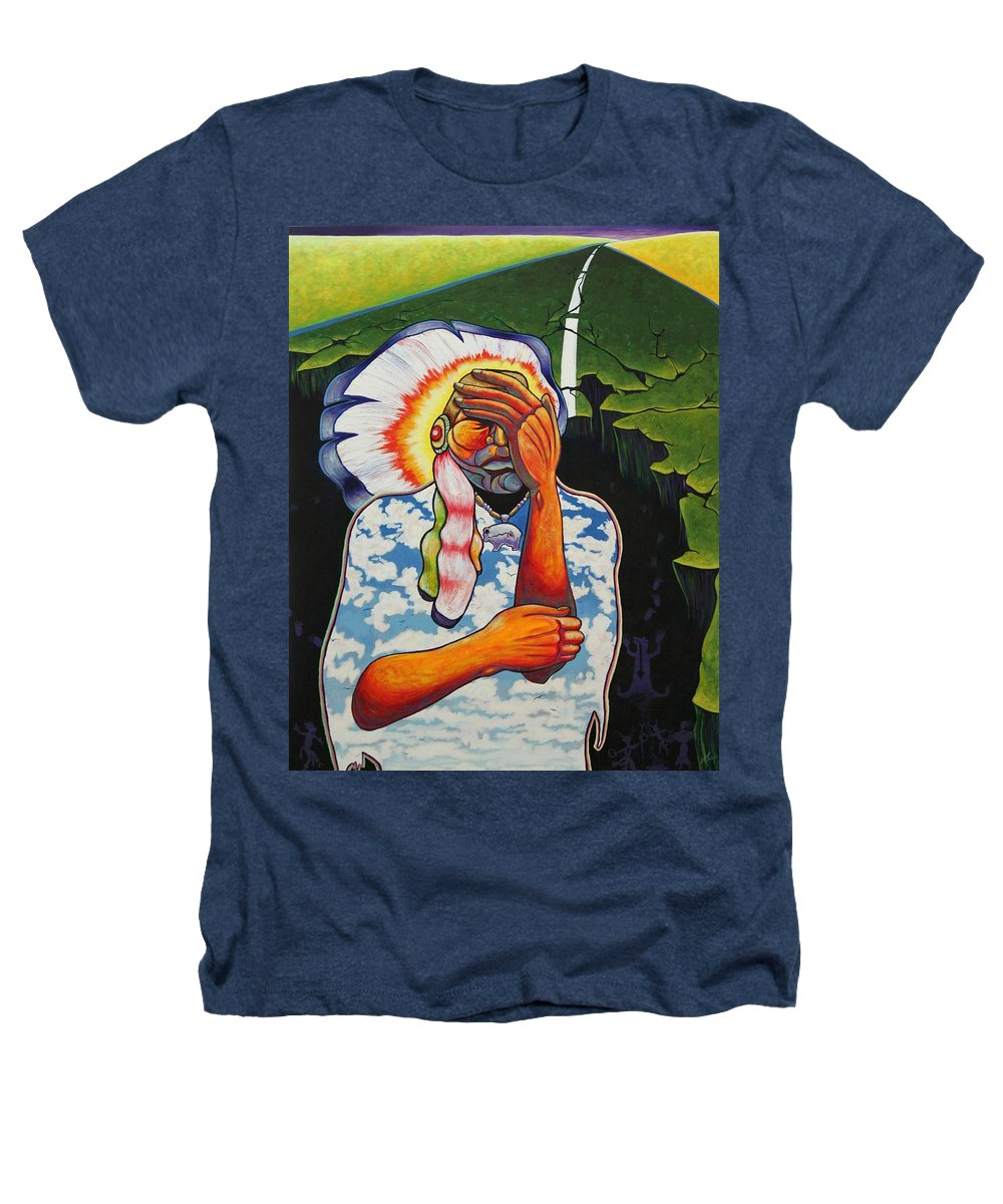 American Indian Heathers T-Shirt featuring the painting Release Me by Joe Triano