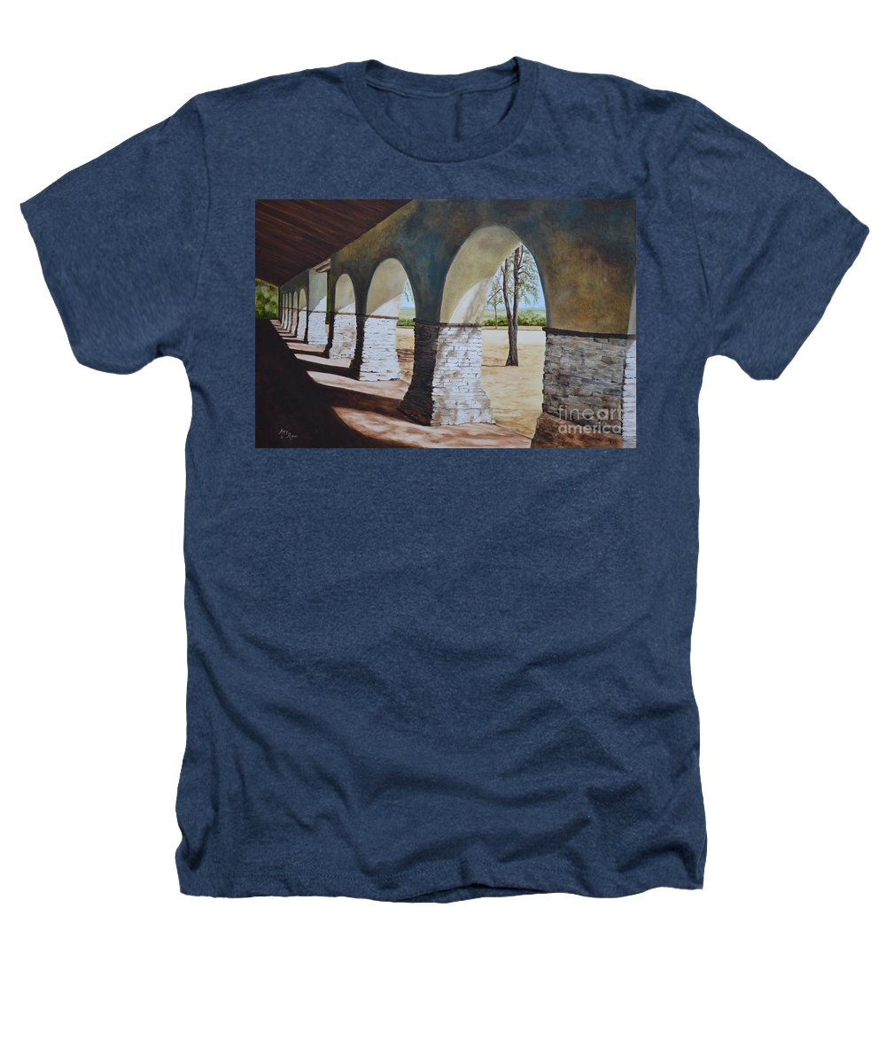 California Landmark Heathers T-Shirt featuring the painting San Juan Bautista Mission by Mary Rogers