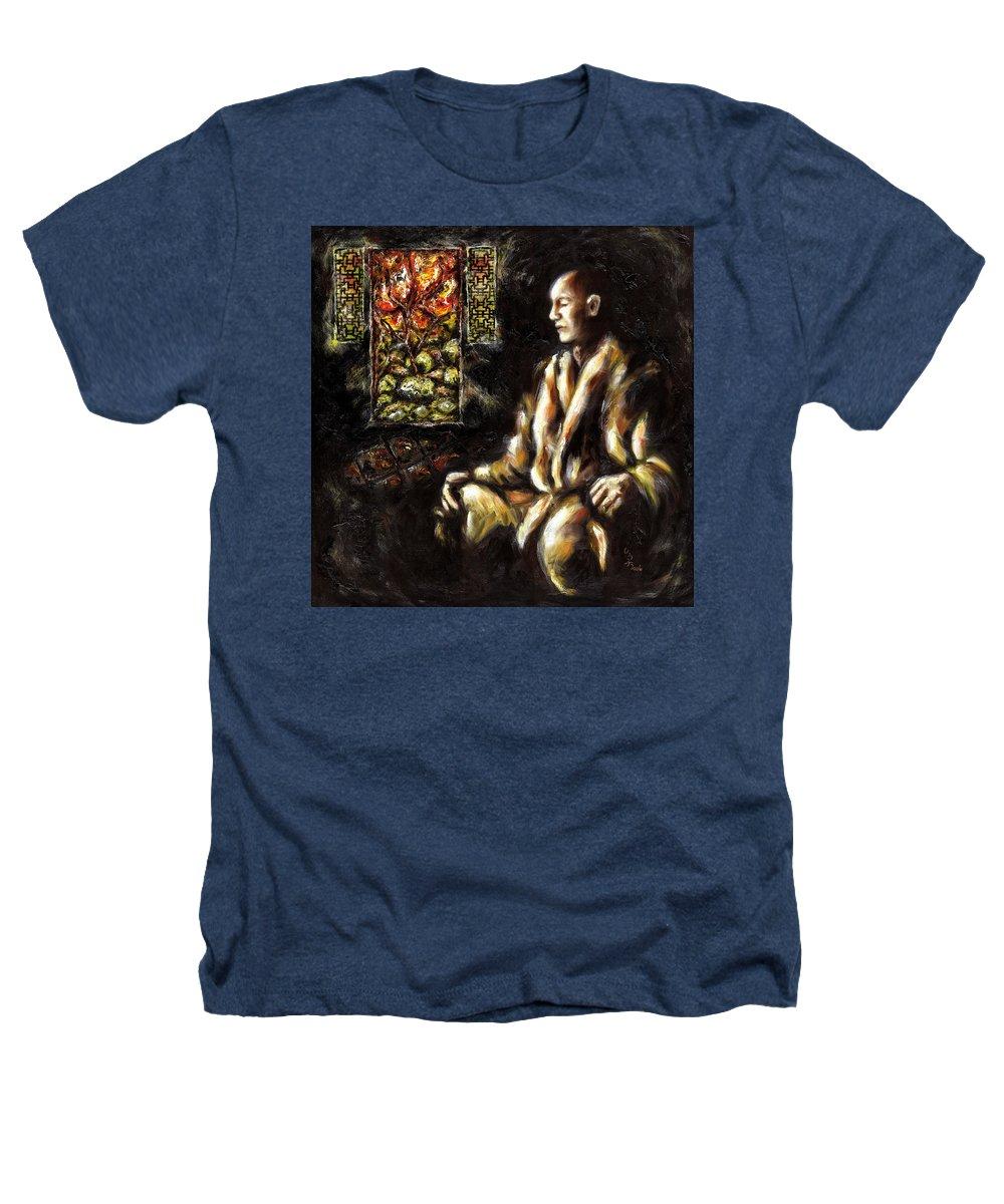 Zen Heathers T-Shirt featuring the painting Silence by Hiroko Sakai