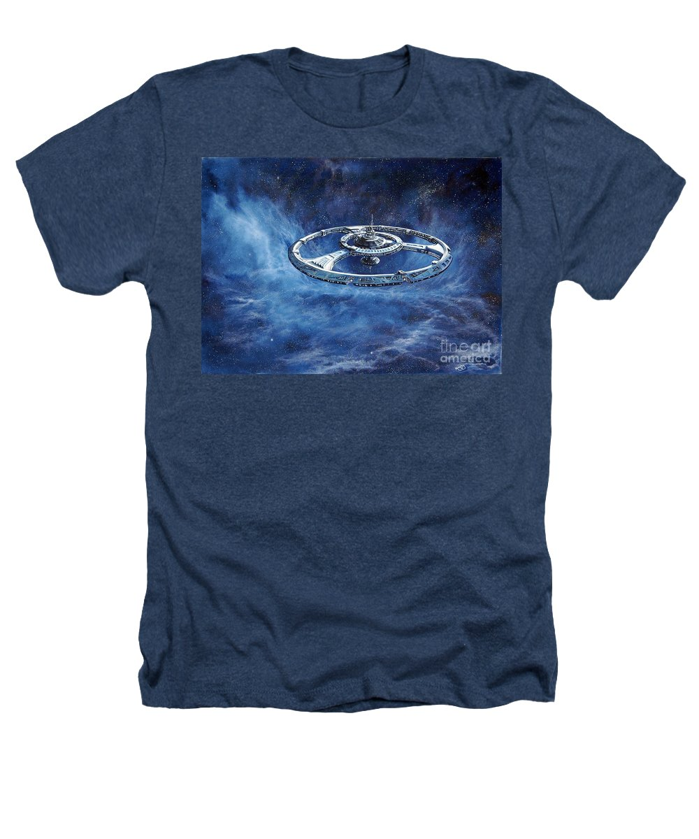 Sci-fi Heathers T-Shirt featuring the painting Deep Space Eight Station Of The Future by Murphy Elliott