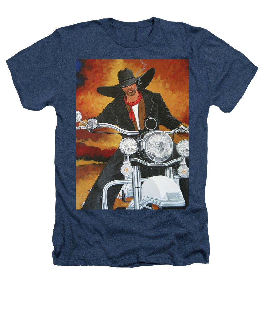 Cowboy On Motorcycle Heathers T-Shirt featuring the painting Steel Pony by Lance Headlee