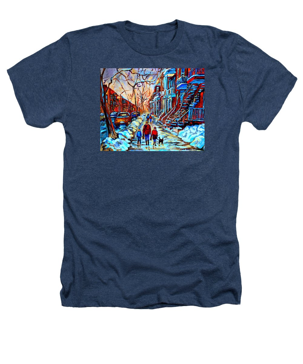 Montreal Heathers T-Shirt featuring the painting Streets Of Montreal by Carole Spandau
