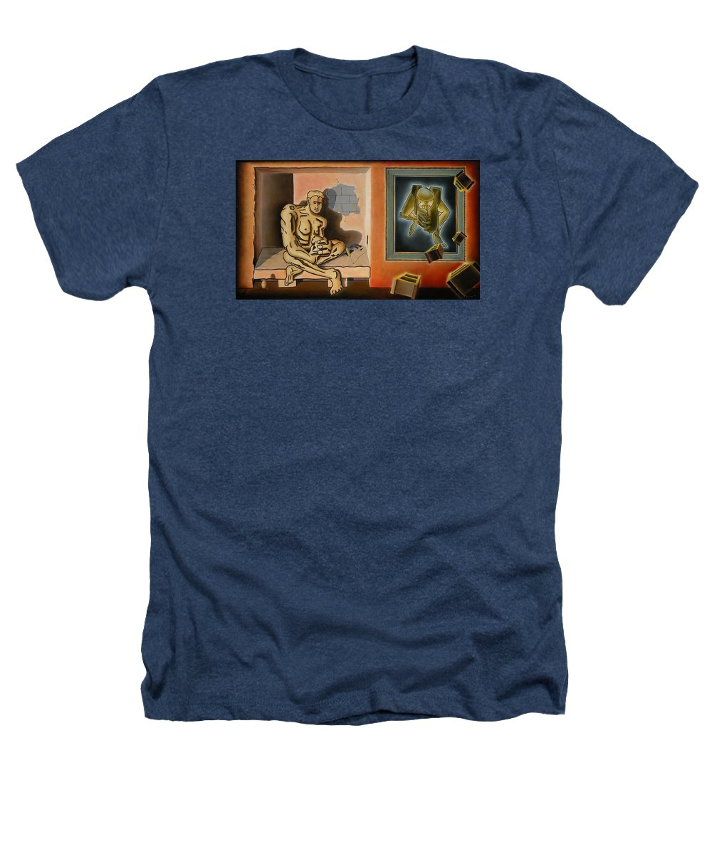 Surreal Heathers T-Shirt featuring the painting Surreal Portents Of Genius by Dave Martsolf
