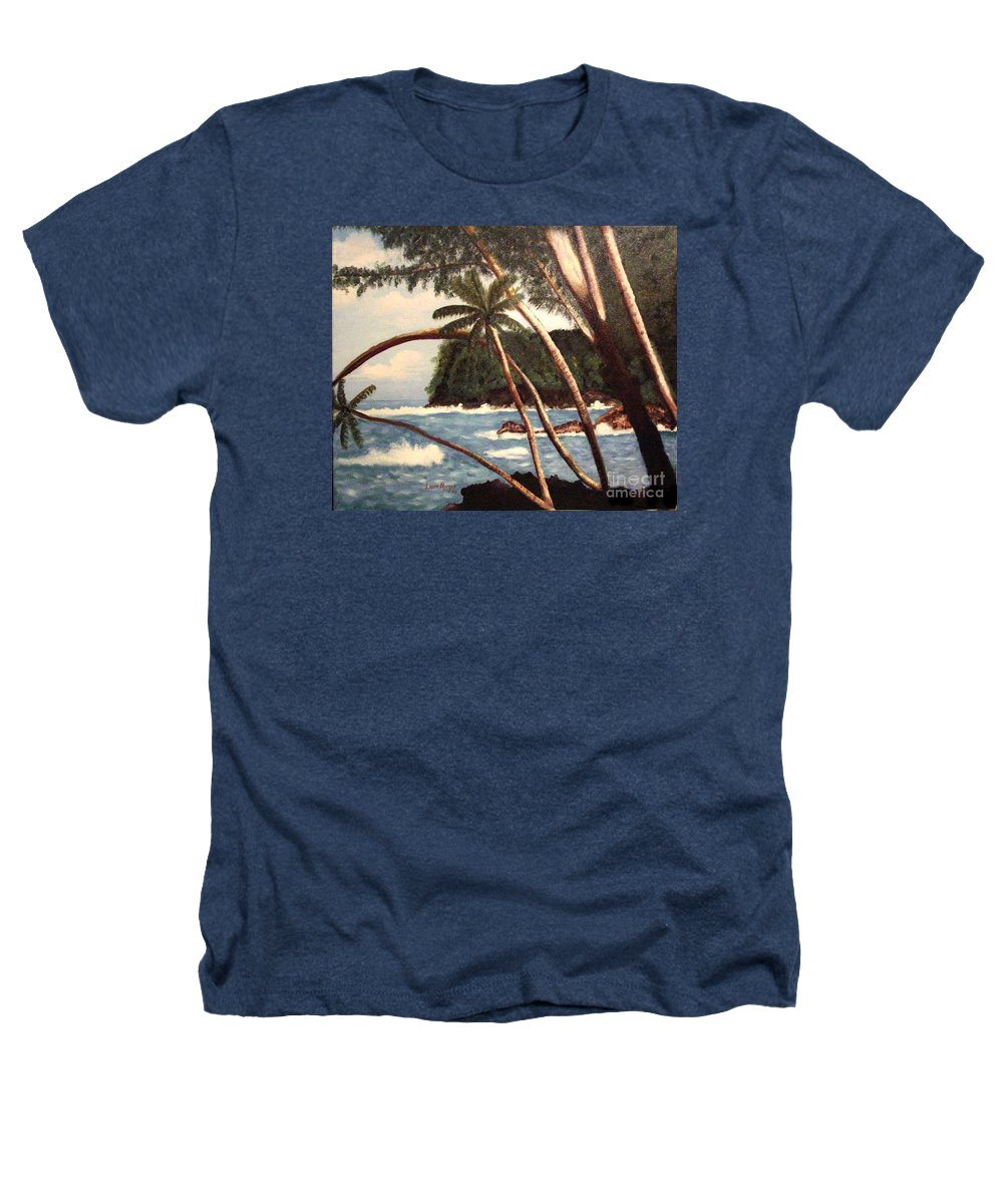 Hawaii Heathers T-Shirt featuring the painting The Big Island by Laurie Morgan