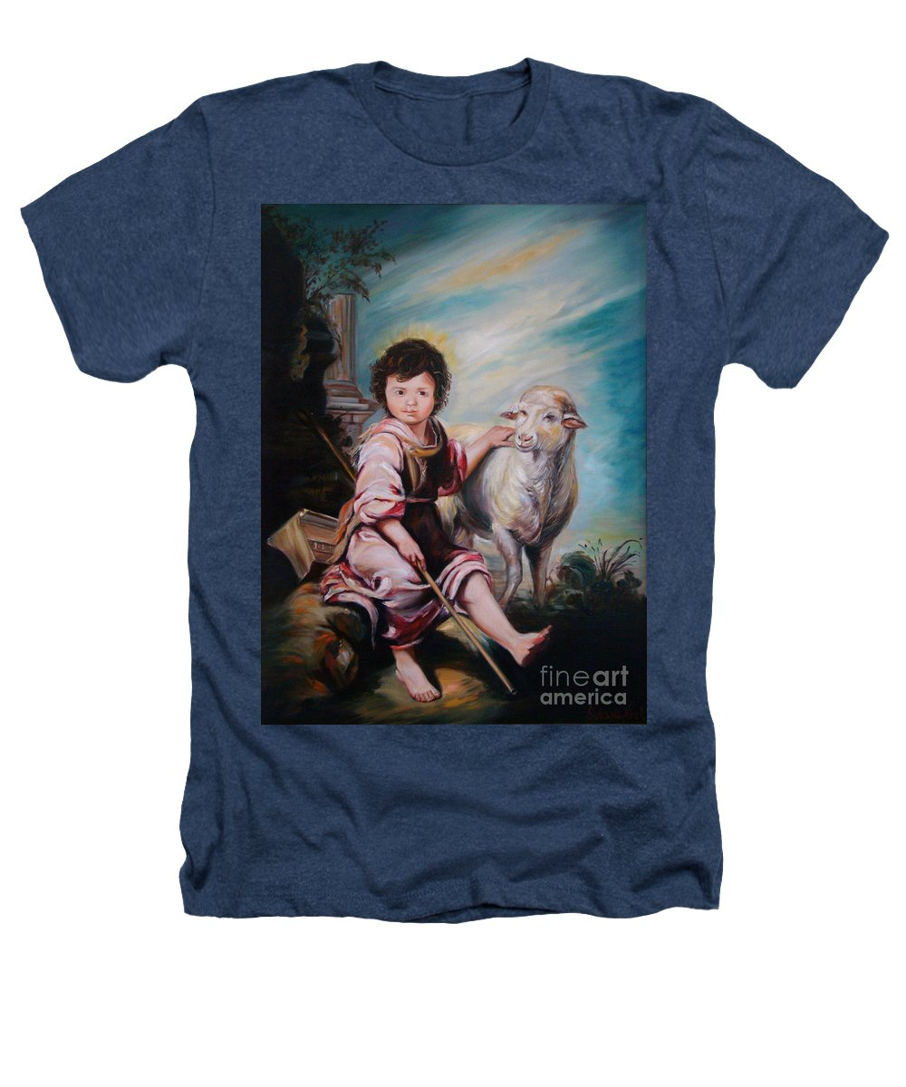 Classic Art Heathers T-Shirt featuring the painting The Good Shepherd by Silvana Abel