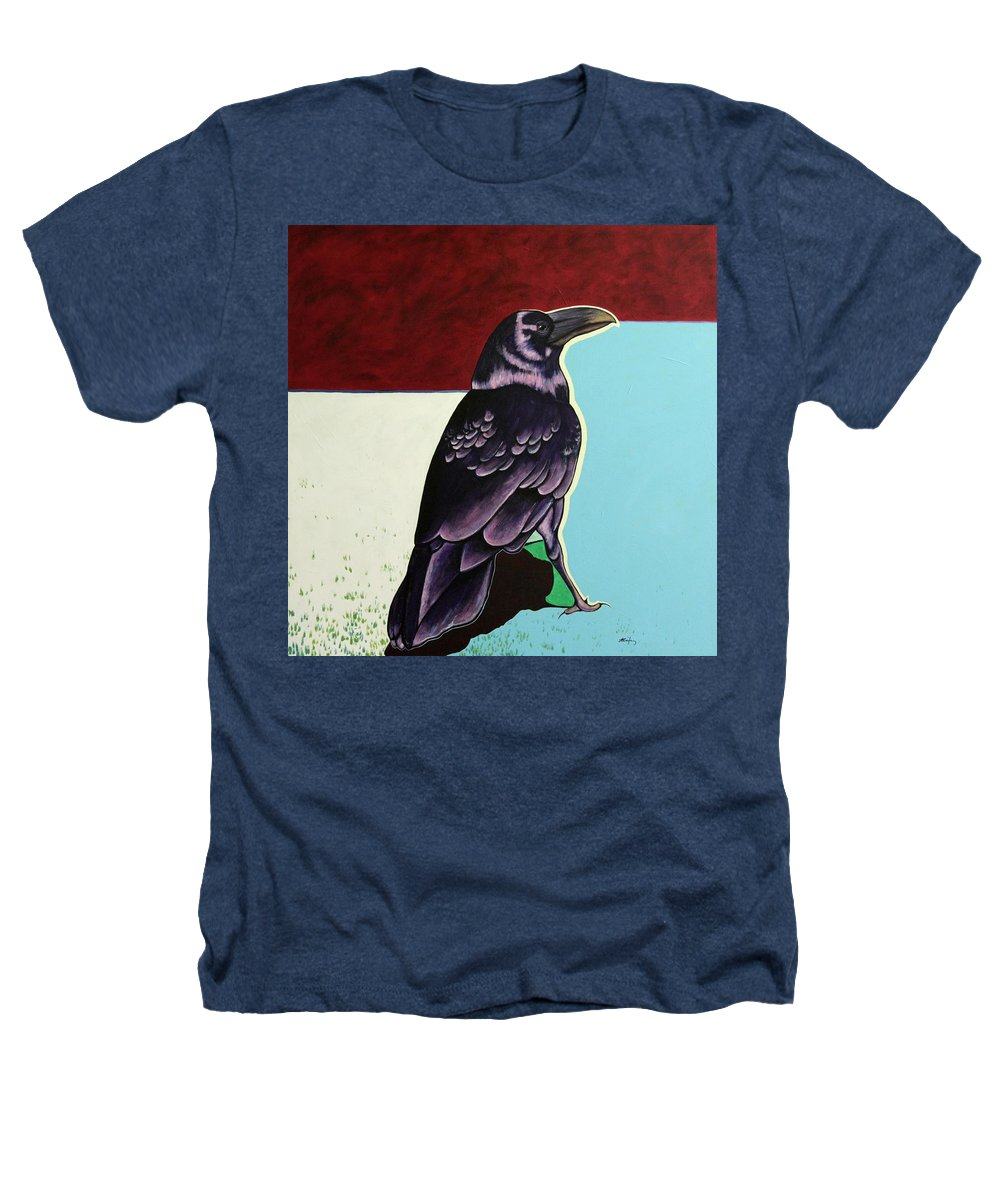 Wildlife Heathers T-Shirt featuring the painting The Gossip - Raven by Joe Triano