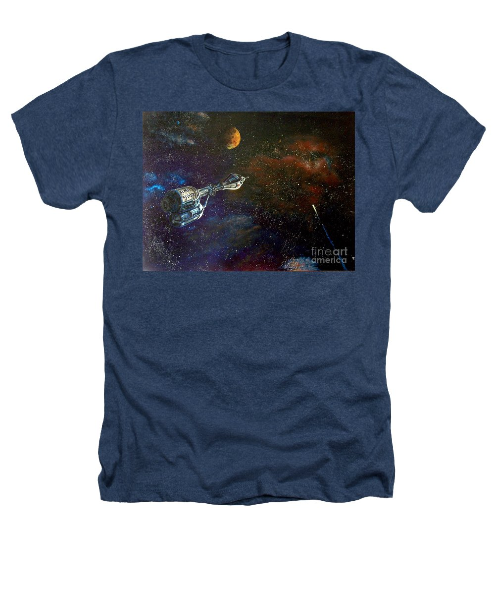 Vista Horizon Heathers T-Shirt featuring the painting The Search For Earth by Murphy Elliott