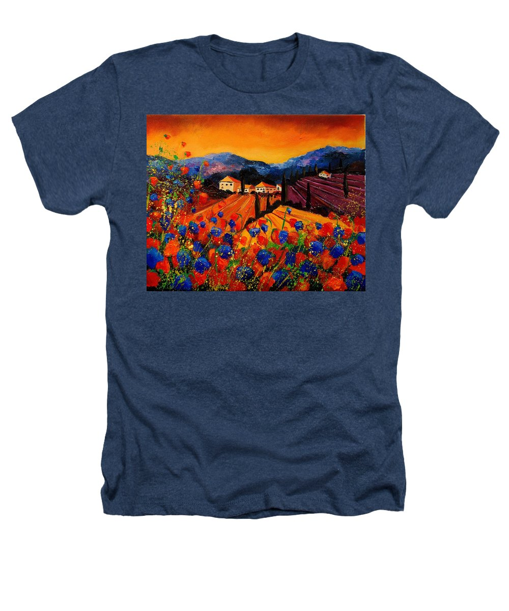 Poppies Heathers T-Shirt featuring the painting Tuscany Poppies by Pol Ledent