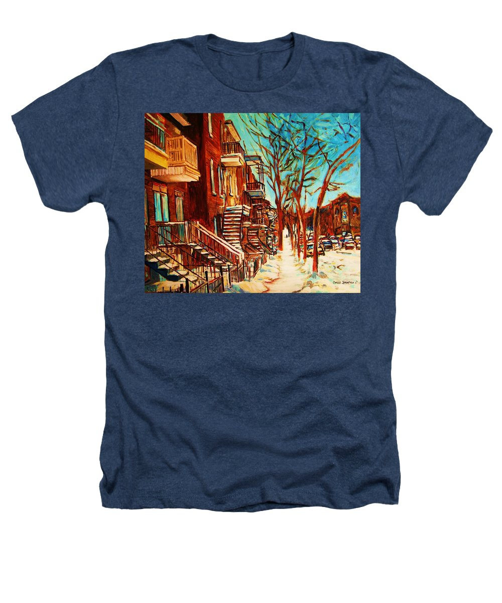 Verdun Paintings By Montreal Street Scene Artist Carole Spandau Heathers T-Shirt featuring the painting Winter Staircase by Carole Spandau