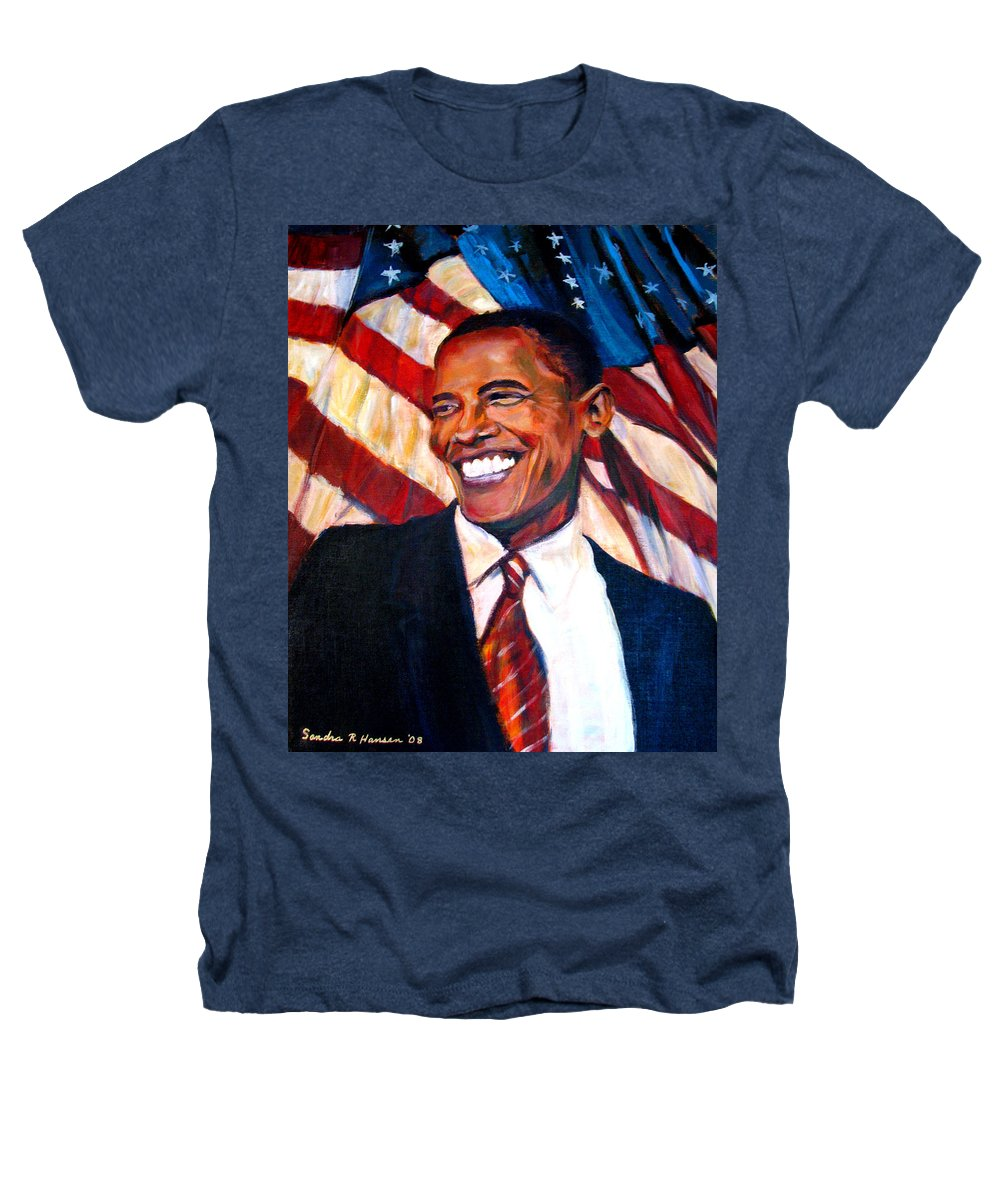 Barack Heathers T-Shirt featuring the painting Yes We Can by Art Nomad Sandra Hansen