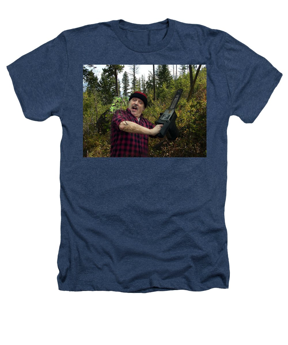 Surrealism Fantastic+realism Cloning Parasites Lumberjack Chainsaw Selfportrait Heathers T-Shirt featuring the digital art I Am A Lumberjack I Am Ok by Otto Rapp