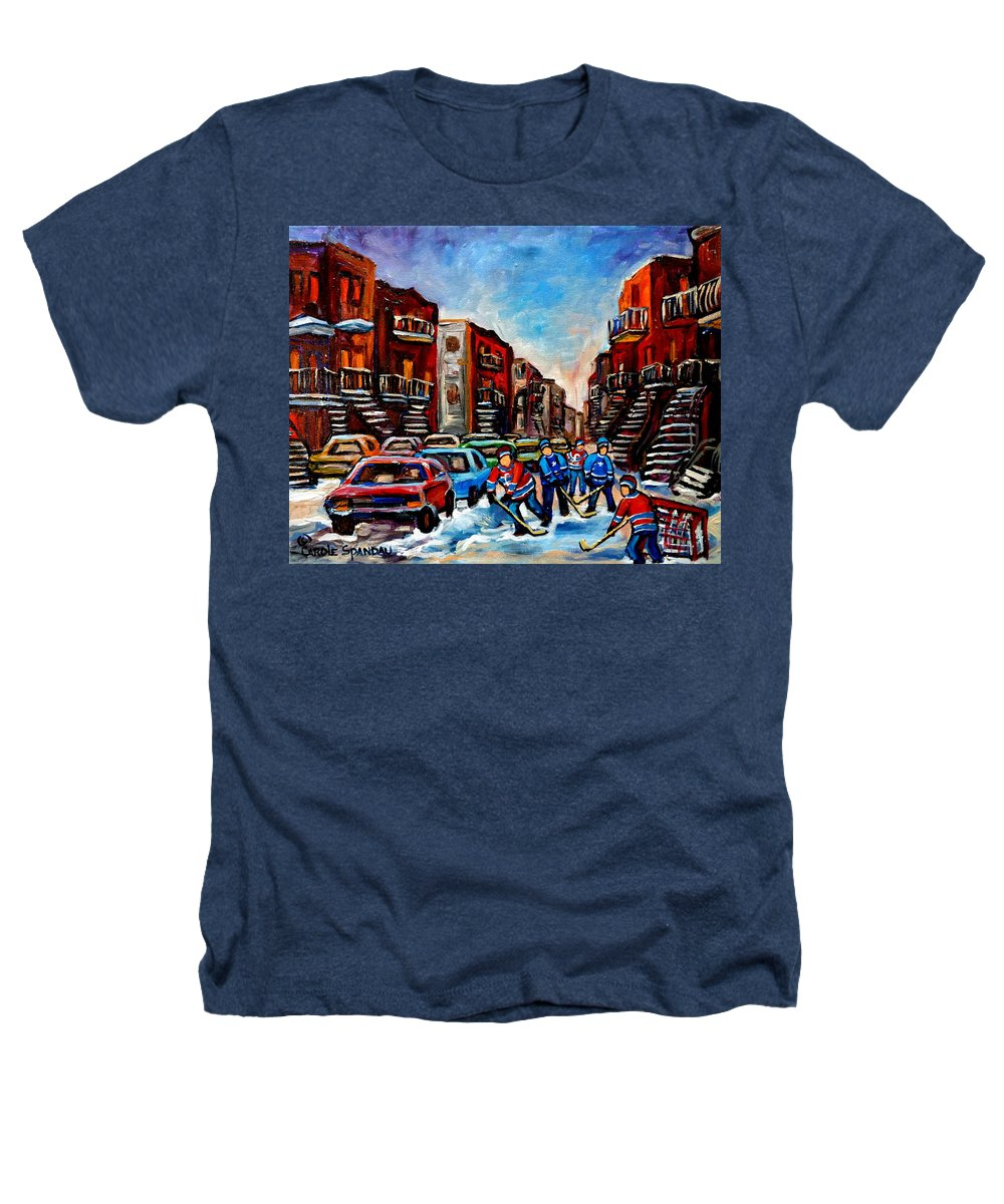 Montreal Heathers T-Shirt featuring the painting Late Afternoon Street Hockey by Carole Spandau