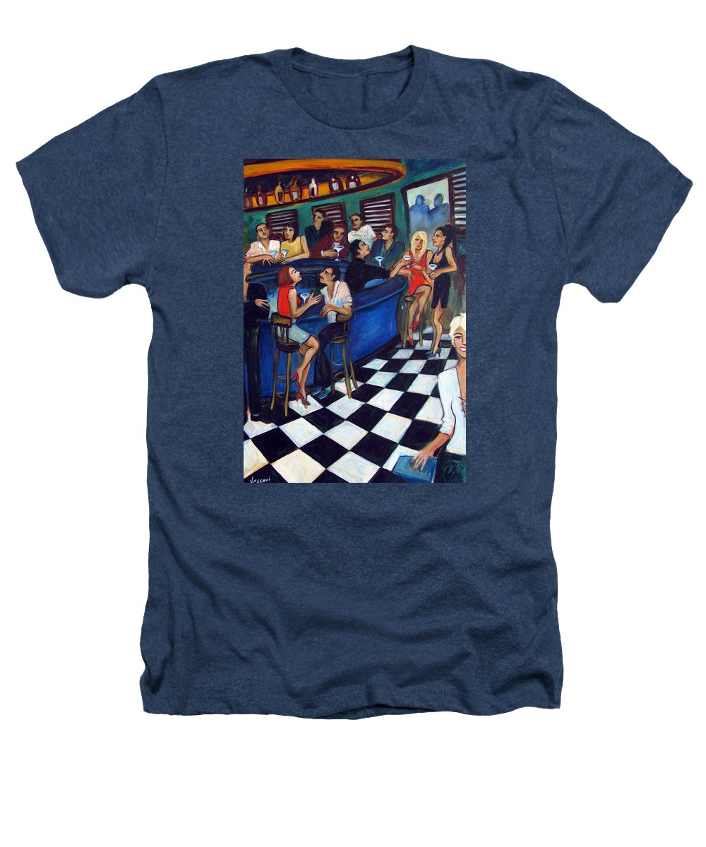 Chicago Style Bar Heathers T-Shirt featuring the painting 32 East by Valerie Vescovi