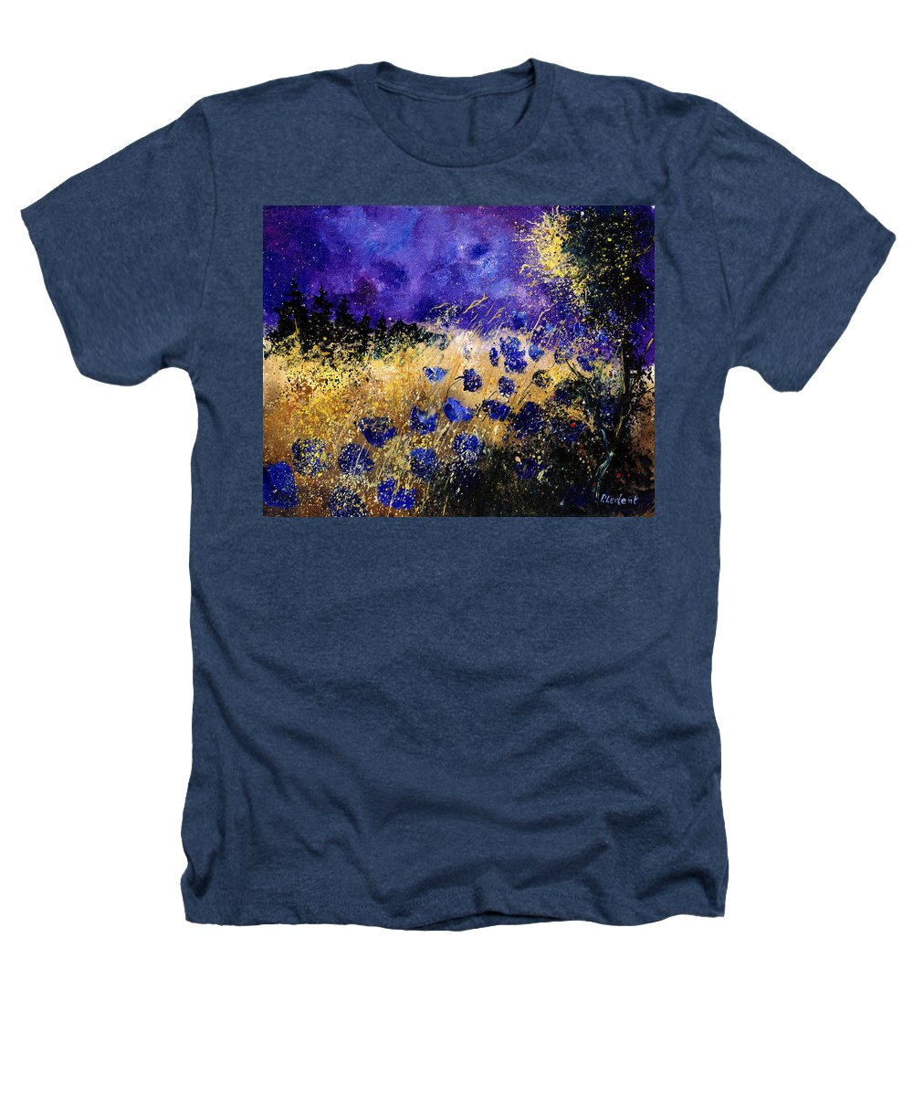 Poppies Heathers T-Shirt featuring the painting Blue Cornflowers by Pol Ledent