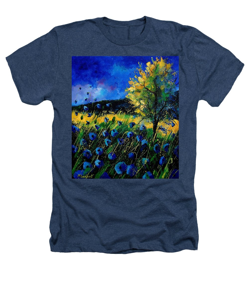 Poppies Heathers T-Shirt featuring the painting Blue Poppies by Pol Ledent