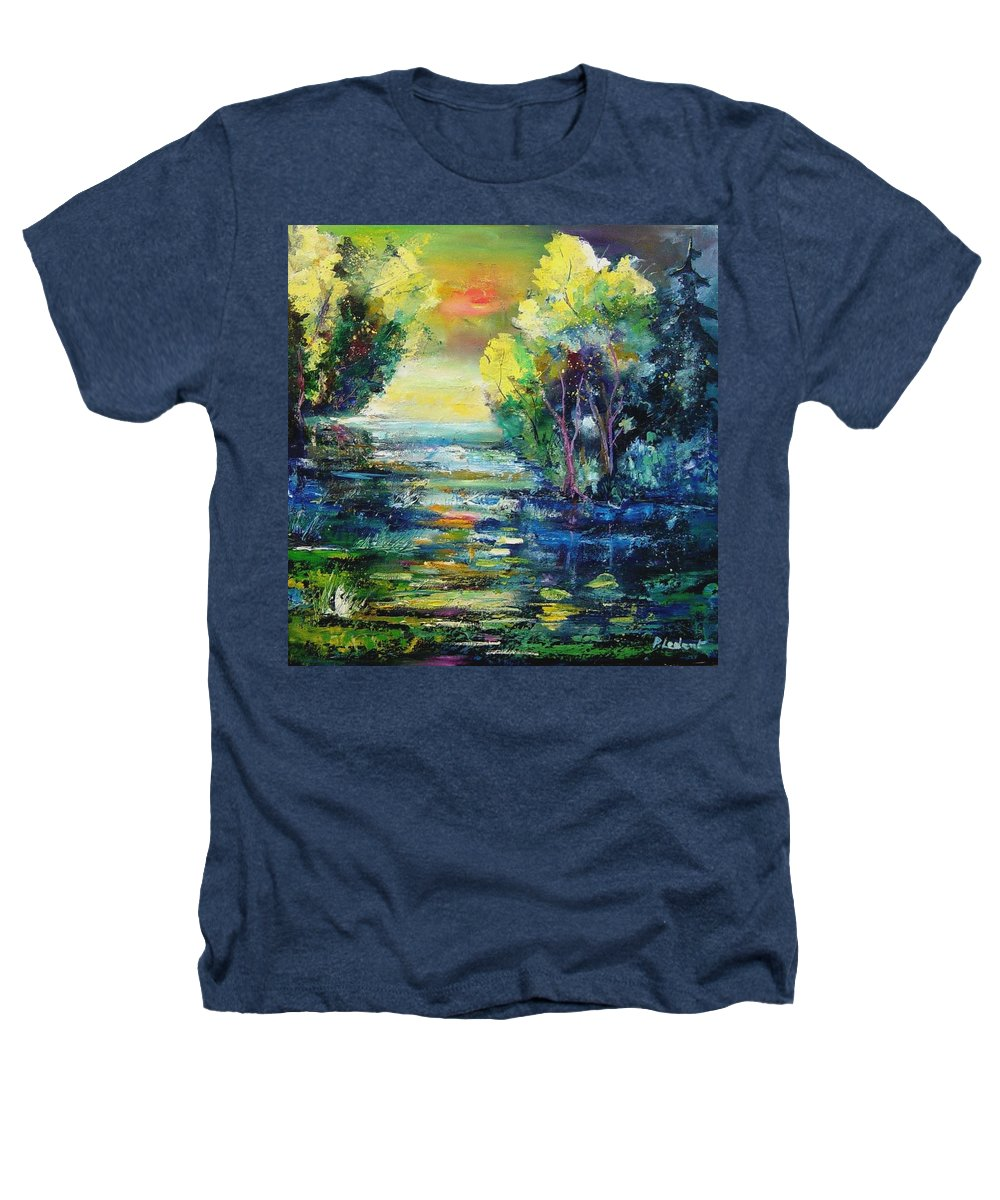 Pond Heathers T-Shirt featuring the painting Magic Pond by Pol Ledent