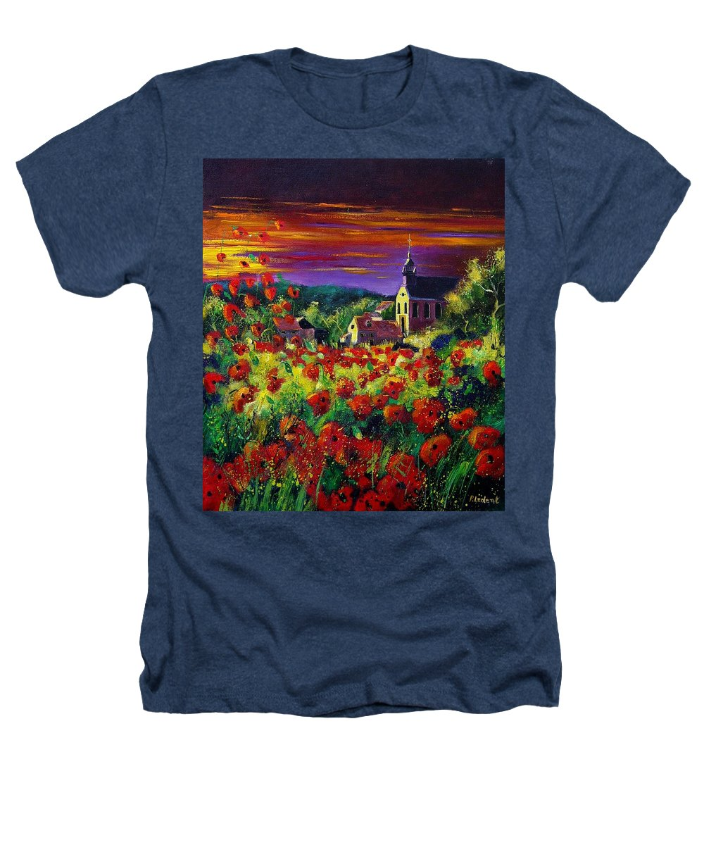 Flowers Heathers T-Shirt featuring the painting Poppies In Foy by Pol Ledent
