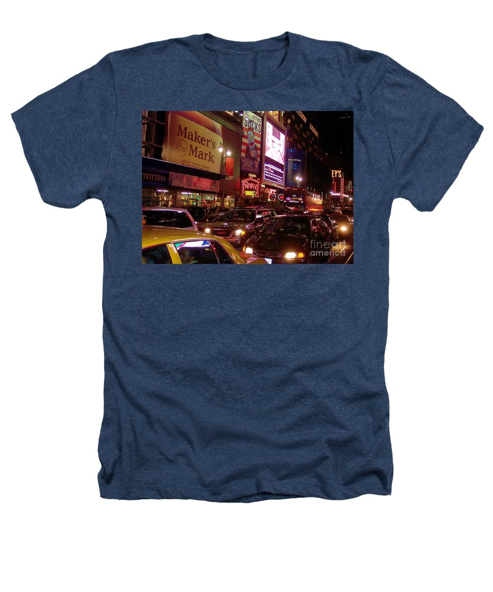New York Heathers T-Shirt featuring the photograph Times Square Night by Debbi Granruth
