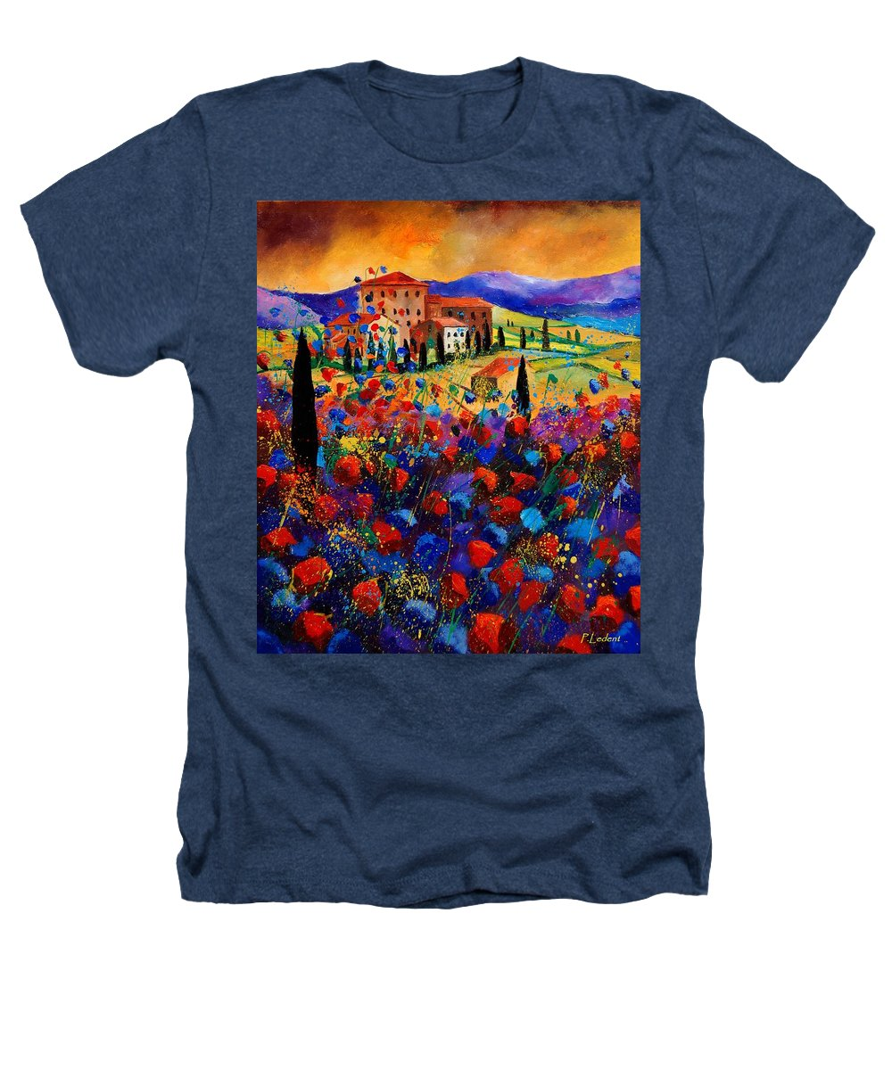 Flowers Heathers T-Shirt featuring the painting Tuscany Poppies by Pol Ledent